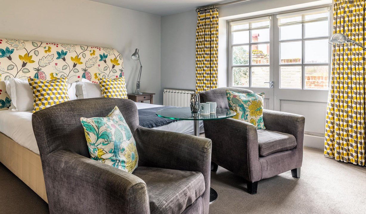 Terrace Rooms - Bed and armchairs - The Crown & Castle, Orford Suffolk