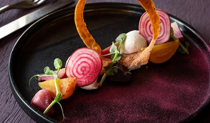 Beetroot and Goats Cheese Mousse with Poppy Tuille