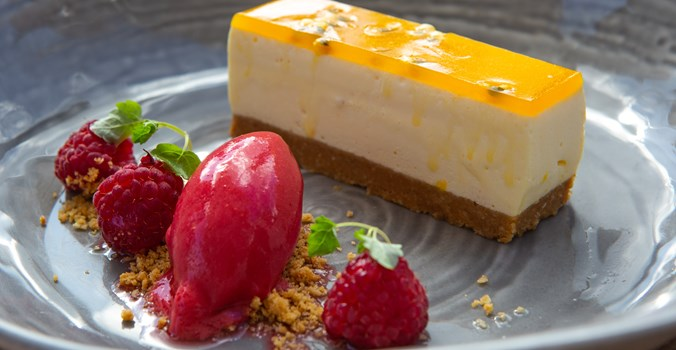 Passionfruit Cheesecake with Raspberry Sorbet