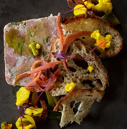 Ham Hock Terrine with pickles and sourdough croutons